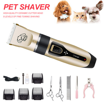 Professional Dog Hair Trimmer Electric Rechargeable Low Noise Pet Hair Clipper Kit Cat Hair Remover Grooming Hair Cutter Machine professional dog hair clippers grooming kit low noise rechargeable cordless dog cat pet electric hair clipper​ trimmer 100v 240v