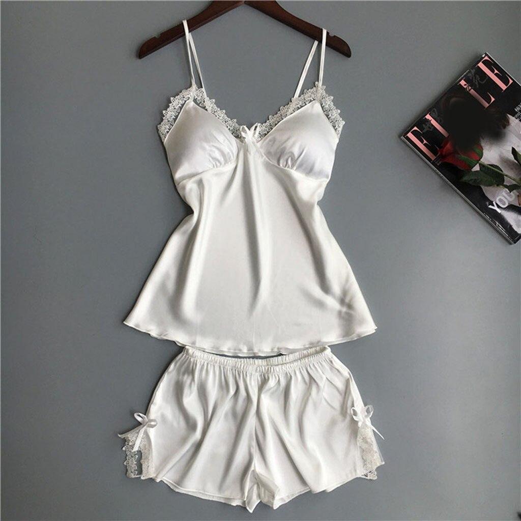 Women's Sleepwear Sexy Lingerie Nightwear Underwear Babydoll Short Sleepwear 2PC Set Top And Shorts Pijama Mujer Algodon Veran