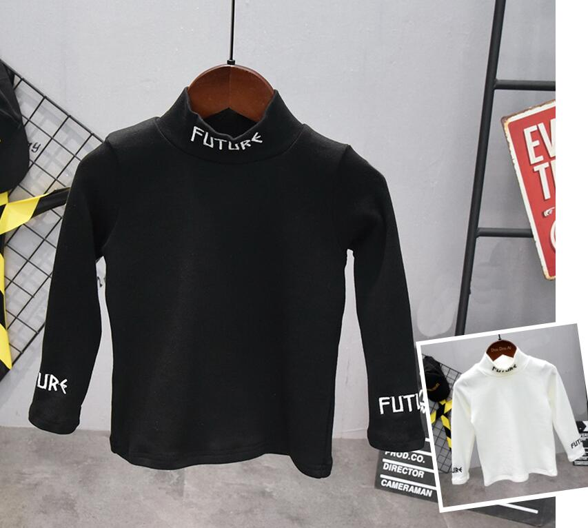 New Autumn Boys T Shirt Fashion Kids T Shirt For Boy Cotton long Sleeve Baby Girls Embroidered T-shirt with high collar 1