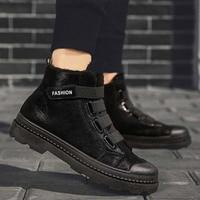 Men sneakers warm plush snow boots 2019 fashion Hoop & loop solid black sneakers men shoes platform square heels ankle boots men