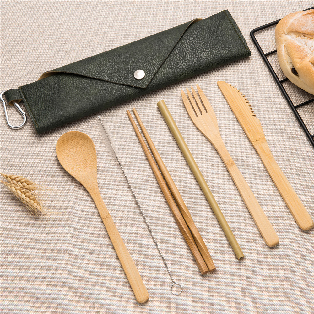 2019NEW wooden portable cutlery tableware set bamboo straw chopsticks forks knives spoons with 5colors close bag for cutlery set in Dinnerware Sets from Home Garden