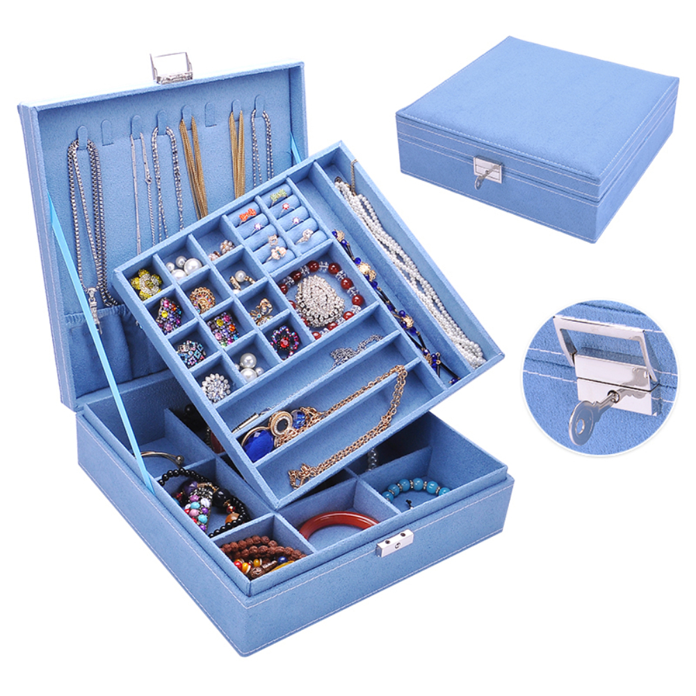 Large Protable 2 Layers Lint Wooden Jewelry Box Organizer Earrings/Fing Rings/Necklace/Bracelets/Choker Display Storage Case Box