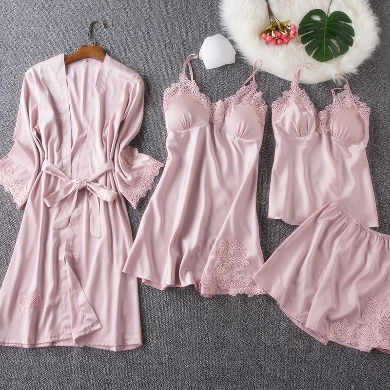 Thin Viscose Pajamas Women's Autumn Spring And Summer Long Sleeve Model Silk Camisole-Home Wear Lace Ribbon Chest Pad Set