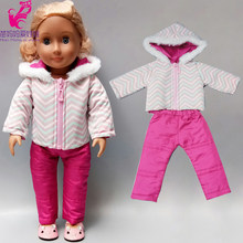 Baby new born Doll Jacket Pants Set 18 Inch American Doll Clothes Winter Down Coat Sport Clothes for Dolls(China)