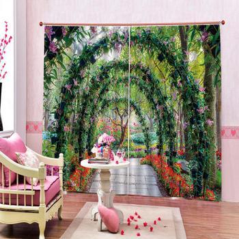 3D Window Curtain Garden corridor scenery Luxury Blackout Living Room office Bedroom Customized size