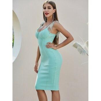 Sugerente Vestido veraniego de fiesta para señora, para fiestas de tarde o celebridades, en color verde menta, a la altura de la rodilla, brillante, 2020