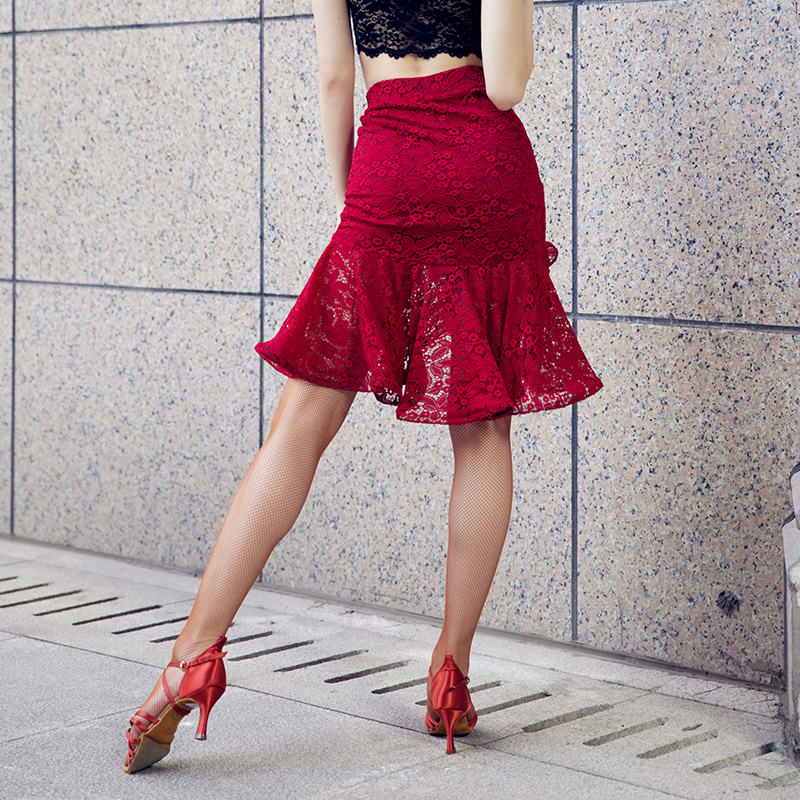 New Woman Latin Dance Skirt Elastic Lace Dance Clothing Open Fork Practice skirt With Underpant 764