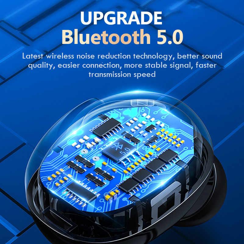 ワイヤレスヘッドフォン bluetooth V5.0 イヤホン led ディスプレイ 2200 mah 充電ボックスとマイク防水ヘッドフォンタッチコントロール