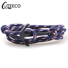 CUTEECO Anchor Bracelet New Fashion Black Color Bracelets Bangles For Men Women Hot Handmade Rope Bangle Gold