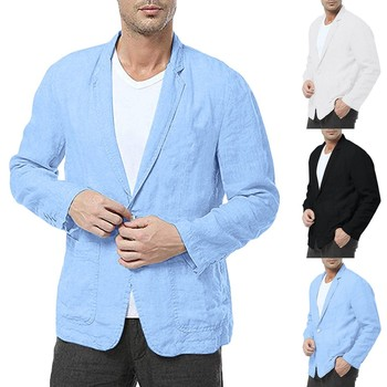 Young Men Suit Jacket sobretudo masculino Men Slim Fit Cotton Blend Solid Long Sleeve Thin Suits Blazer Jacket Outwear M-3XL
