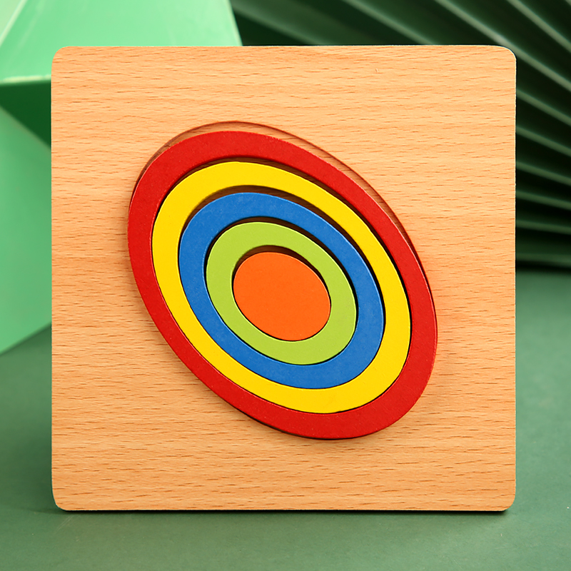 High Quality Colorful 3D Wooden Geometric Shapes Cognition Puzzles Board Math Game Montessori Learning Educational For Kids Toys 16