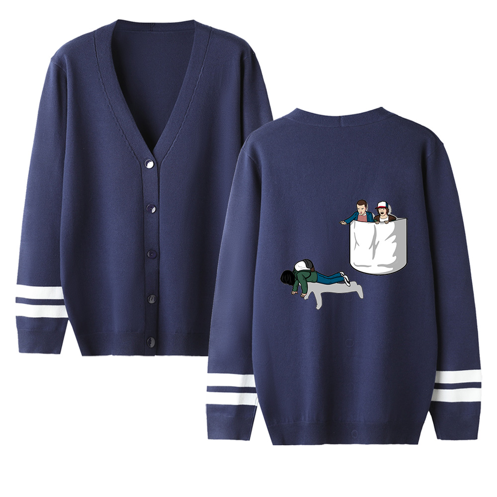 Stranger Things Cardigan Sweater Men Women Unisex Sweater Autumn New Popular V-neck Knitting Sweater Casual Female Print Sweater