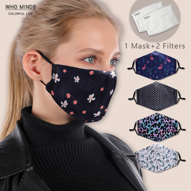 Flower Facial Reusable Mouth Mask Washable Face Mask With Filter Adjustable Straps Windproof Mouth-muffle Flu Mask