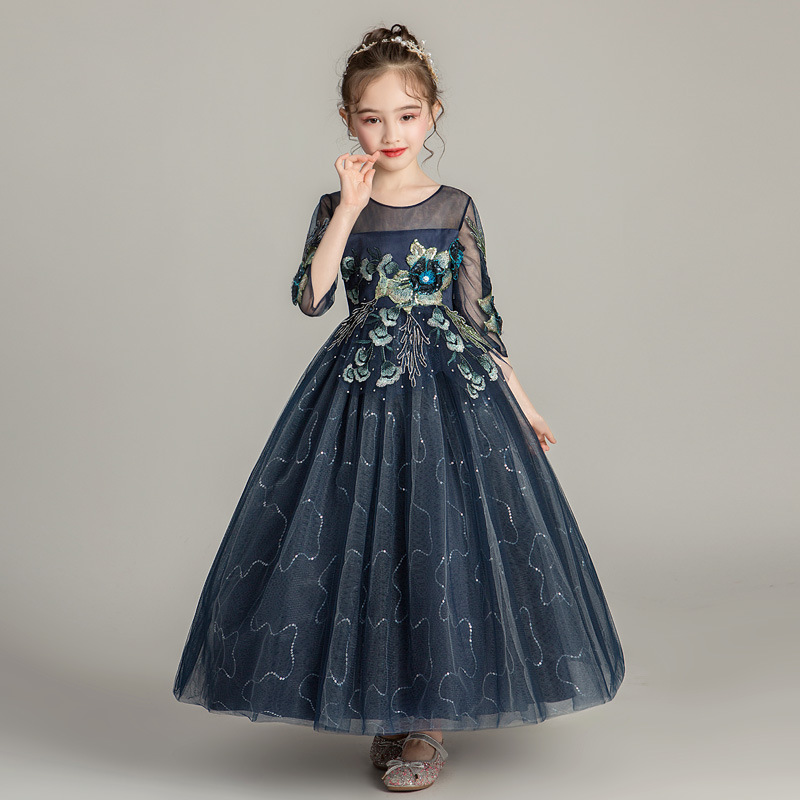 It's YiiYa Lace   Flower     Girl     Dress   for Wedding Elegant Illusion Half-sleeve Sequines Tulle Kid Party Communion Gown 2019 1716