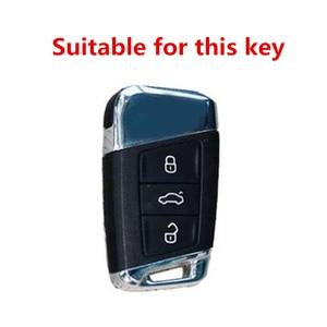 Image 4 - Alta qualidade matte fibra de carbono matte caso chave do carro para volkswagen polo golf skoda superb a7 passat beetle acessórios interiores