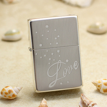 Genuine Zippo oil lighter copper windproof Silver LOVE cigarette Kerosene lighters Gift With anti-counterfeiting code