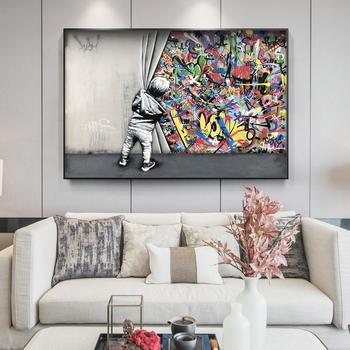 Modern Street Art Pictures miłośnik dzieci za zasłoną Graffiti Art Painitngs na ścianie plakaty i wydruki artystyczne Home Decor tanie i dobre opinie CN (pochodzenie) Wydruki na płótnie Pojedyncze PŁÓTNO Wodoodporny tusz abstrakcyjne bez ramki Nowoczesne PF2430 Malowanie natryskowe