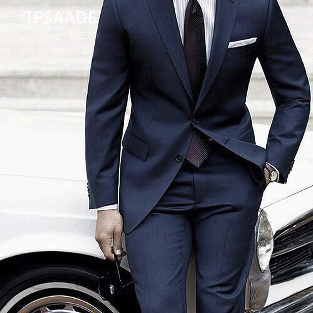 2020 New Men's Suit Jacket Pants 2 Pieces Set Blue Pants Men's Custom Suit Terno Slim Fashion Men's Wedding Costume Mens Suit