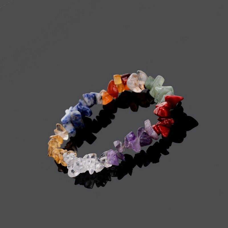 Unisex Nhiều Màu Đính Hạt Căng 7 Luân Xa Sứt Mẻ Nguyên Đá Tự Nhiên Tập Yoga Chữa Bệnh Nguyên Thạch Anh Sứt Mẻ Tinh Thể Vòng Tay