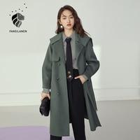 FANSILANEN cappotto lungo elegante in lana Wram grigio cappotto invernale doppiopetto da donna cappotto in misto Cashmere femminile Vintage