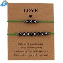 Black Color Letter Mom&Daughter Bracelet Handmade Jewelry Multicolor Rope Adjustable