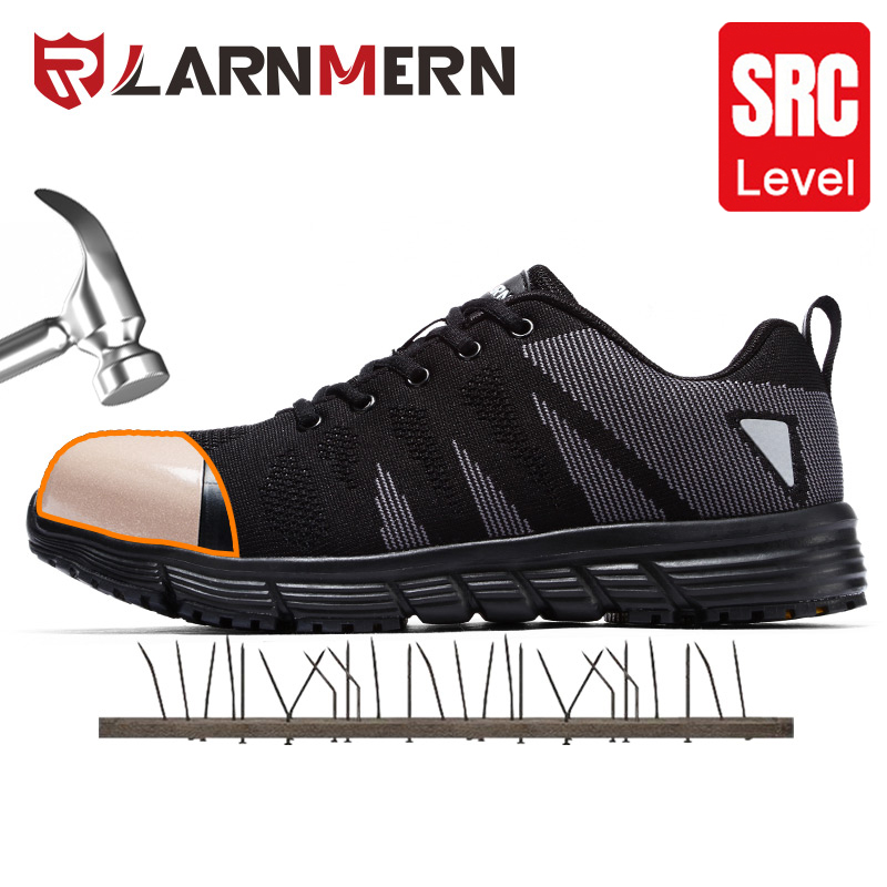 LARNMERN Men's Work Safety Shoes Steel Toe Construction Sneaker Lightweight Breathable Anti-smashing