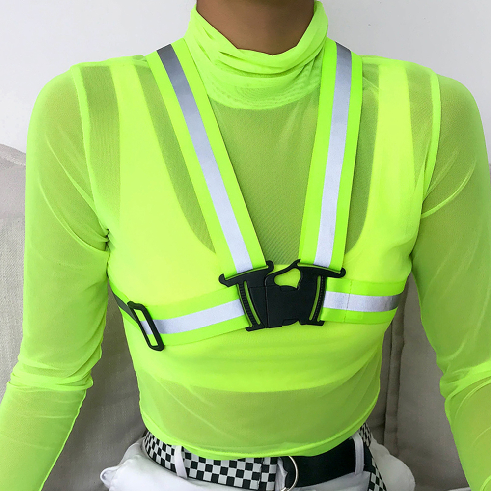 Fluorescent Color Crop Tops Tees Women Transparent Mesh T Shirts Slim Vest Outfits Turtleneck Long-sleeved Temale Short T-shirt(China)