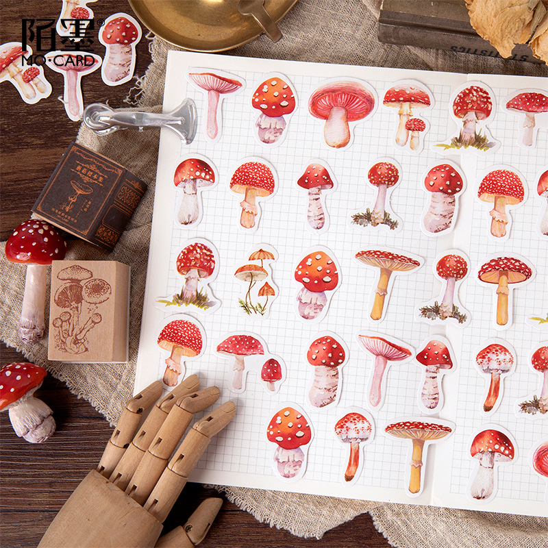 45pcs/pack Kawaii Mushroom Decorative Scrapbooking Craft Sticker Diary Album Sticker Adhesive