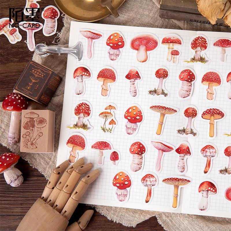 45pcs/pack Kawaii Mushroom Decorative Scrapbooking Craft Sticker Diary Album Sticker Adhesive