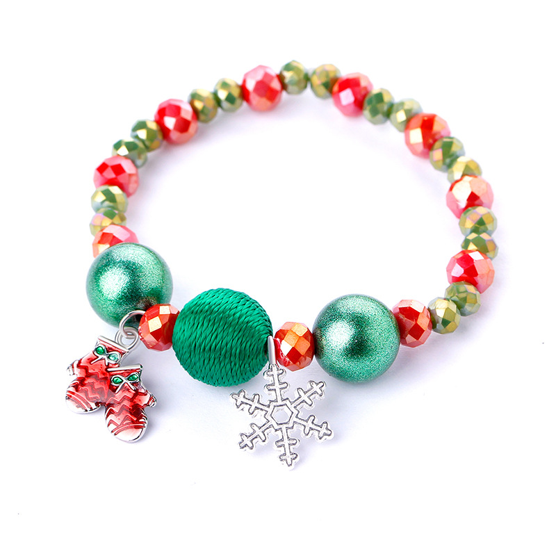 Christmas Hand Bracelets Women Girls Round Beaded Christmas Bracelets Jewelry Santa Claus Home Ornaments Gift Xmas Decor Girls