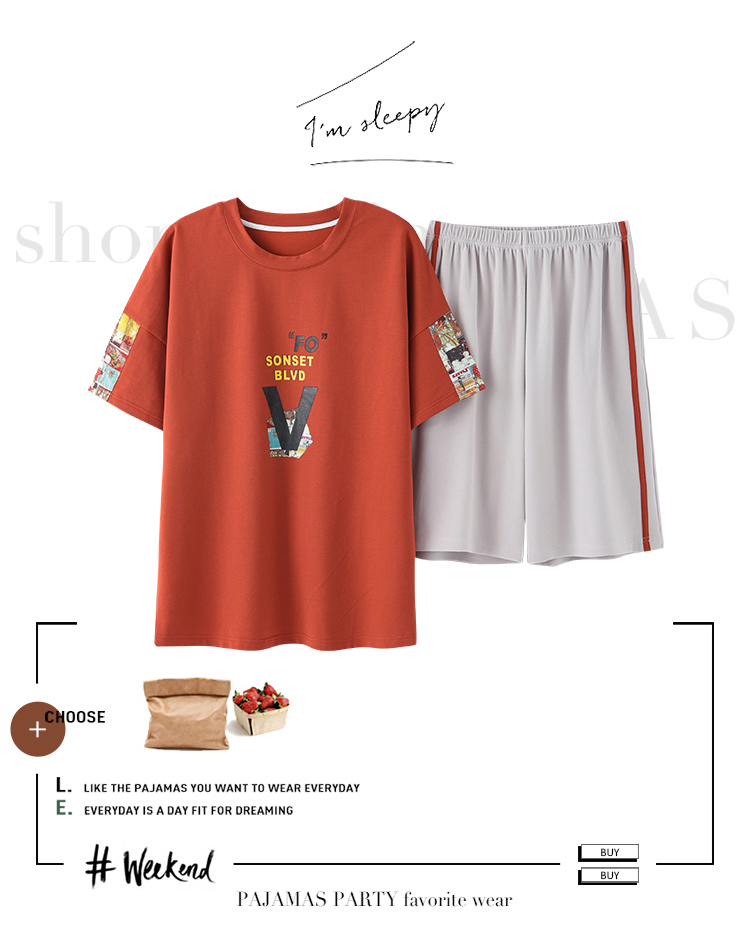 de pijama carta vermelho topos & shorts pijamas