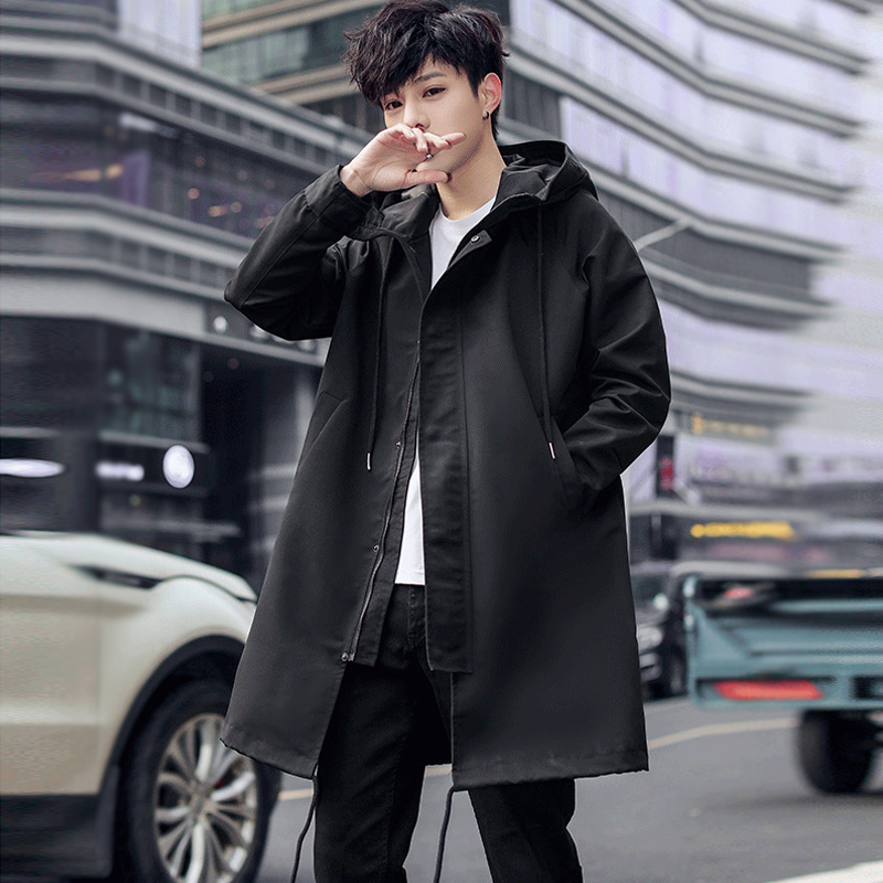 Men's Jacket Spring And Autumn New Fashion Hooded Long Coat Windbreaker Men's Solid Color Loose Jacket Large Size Men's Clothing