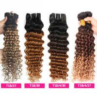 Extensiones de cabello humano con ondas profundas degradado, 1B, 4, 27, 30, rizado profundo, 1, 3, 4 mechones, Remy, rubio miel, extensiones de pelo ondulado brasileño