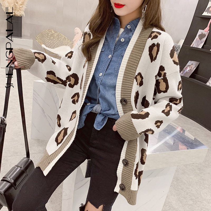 SHENGPALAE 2020 New Fashion Autumn V-neck Single Breasted Leopard Print Cardigans Women Loose Casual Korean Tide Sweater FV110