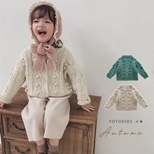Детский плотый вязаный кардиган для девочек, свитер для детей ясельного возраста, вязаная куртка для малышей, весна-осень, свитера из чистого хлопка для малышей