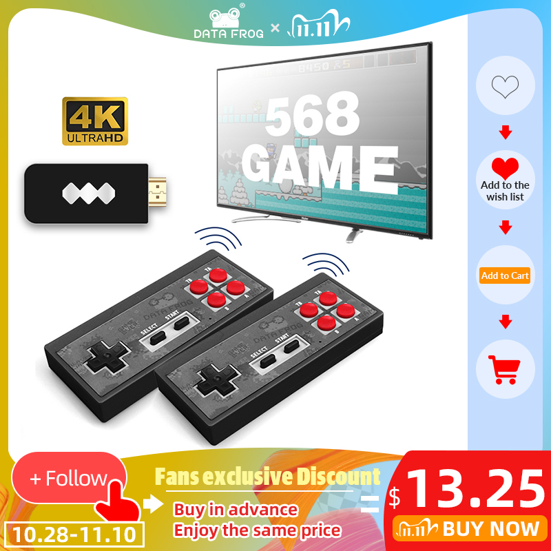 DATA FROG Wireless USB Video Game Console Built in 1400 Classic NES Games Support AV HDMI Out 4k Dual Handheld Game Console