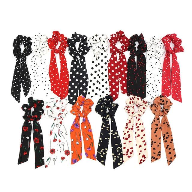 Bohemian Polka Dot Printed Scarf  Ribbon Ties Floral Hair Scrunchies Women Elastic Hair Band Hair Rope Girls Hair Accessories polka dot