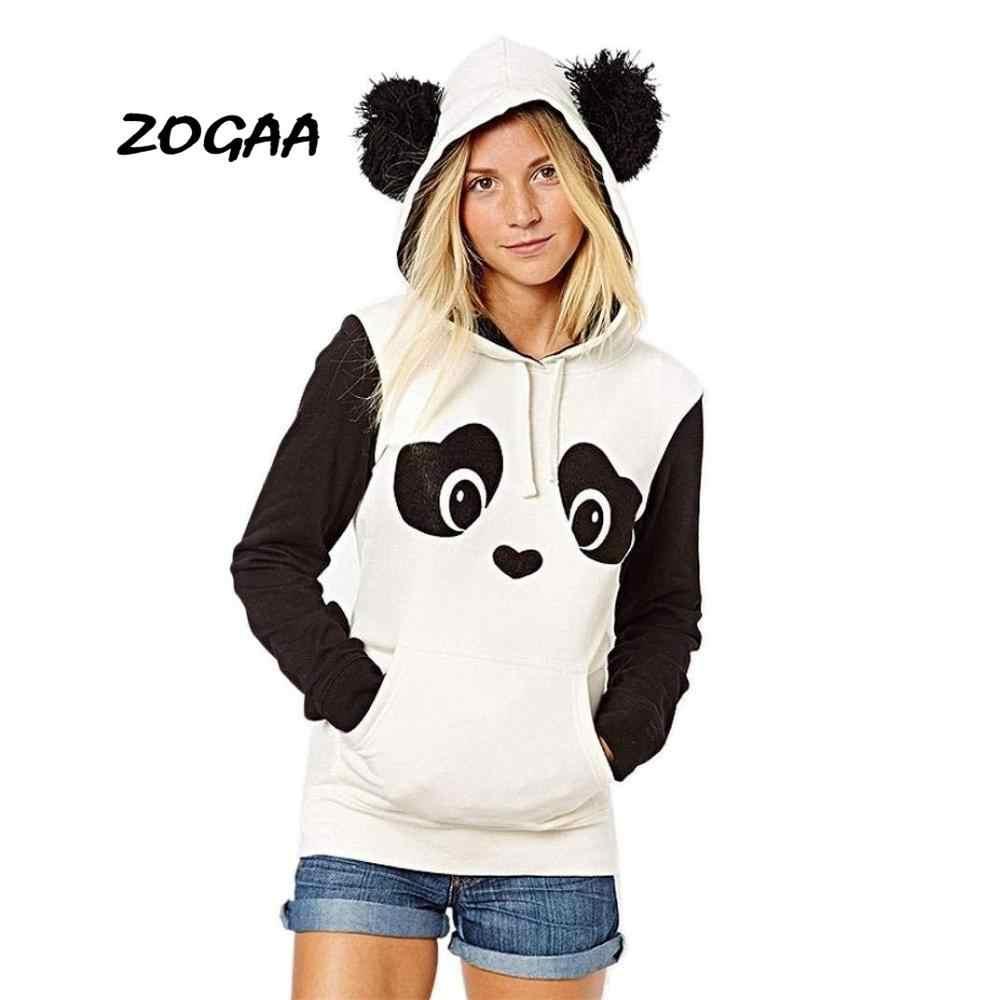 Zogaa 일본 후드 스웨터 카와이 후드 스웨터 숙녀 스웨터 (귀 포함) 귀여운 겨울 플러시 귀여운! 팬더 까마귀
