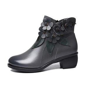 Image 4 - 2020 חורף נעלי נשים מגפי וינטג אמיתי עור נמוך נעליים עקב בוהן עגול נעלי אופנה גבירותיי מגפי קרסול נשים