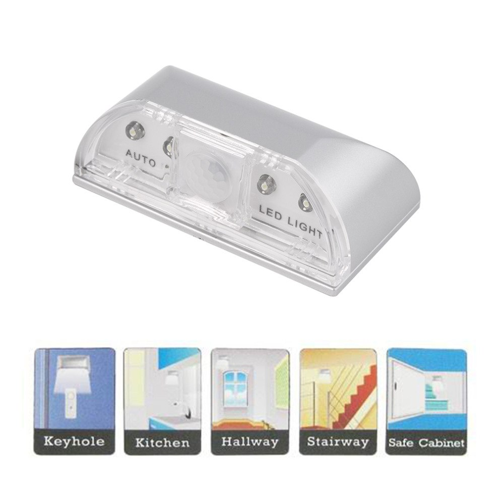 1pcs 4 LED IR Sensor Light Auto PIR Infrared Home Door Wireless Keyhole Motion Detection Security Detection Flashlight Hot