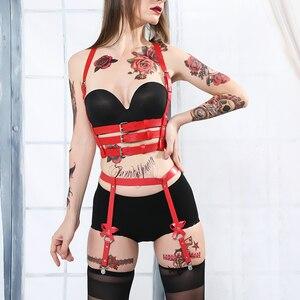 B.CYQZ Leather Harness Sexy Set Women Garter Women Harness Nick Sex 2 Pieces Body Bondage Cage Garter Band Punk Sexy Suit(China)