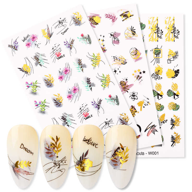 1 Vel Harunouta Gold Water Nail Stickers Zomer Bloem Water Decals Jurk Slider Nail Folie Wraps Diy Nail Art Decoratie