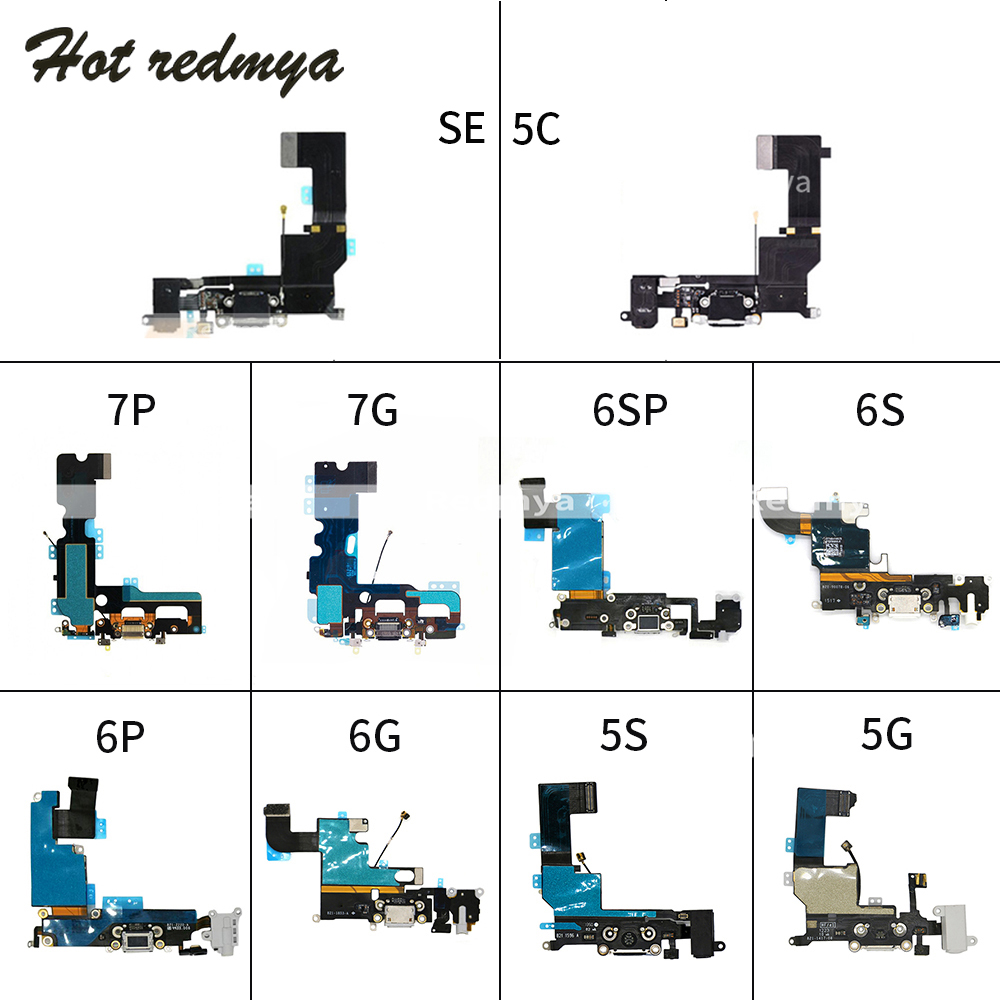 10pcs Charging Flex Cable for <font><b>iPhone</b></font> 6 6S 7 Plus USB Dock <font><b>Connector</b></font> Charger Port for <font><b>iPhone</b></font> 5 <font><b>5S</b></font> 5C SE With Mic Flex Cable image