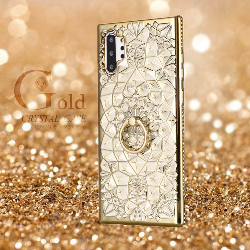 Ring Stand Case For Samsung Galaxy Note <font><b>10</b></font> Plus 5G S10 S9 S8 S7 3D Diamond Cover For Samsung A6 A8 A7 A9 J4 J6 Plus <font><b>2018</b></font> A70 A50 image