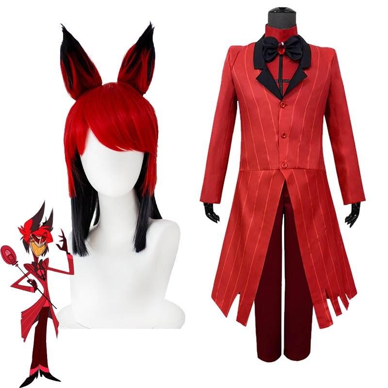 Hazbin Cosplay peruk otel Alastor kostüm üniforma Set radyo iblis giyim cadılar bayramı iblis aksesuarları