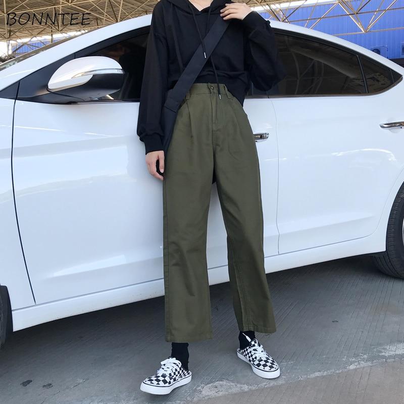 Pants Women Simple Cargo Long Trousers Zipper High Waist Womens All-match Retro Ladies Trendy Pockets Korean Loose Casual Autumn