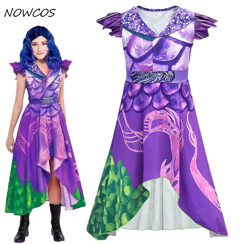 Child Girls Descendants 3 Cosplay Purple Dress Costume 3D Printed Costume Kids Girls Halloween Masquerade Dress Short Sleeved