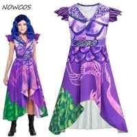 Enfant filles Descendants 3 Cosplay violet robe Costume 3D imprimé Costume enfants filles Halloween mascarade robe à manches courtes