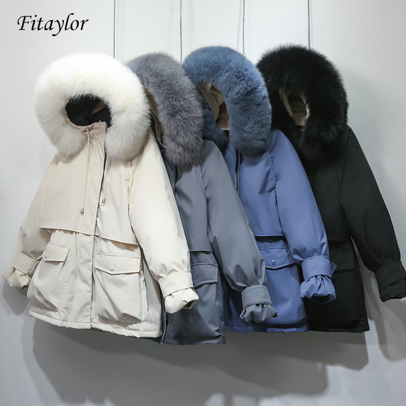 Fitaylor Winter Jacket Women Large Natural Fox Fur White Duck Down Coat Thick Parkas Warm Sash Tie Up Zipper Down Snow Outerwear