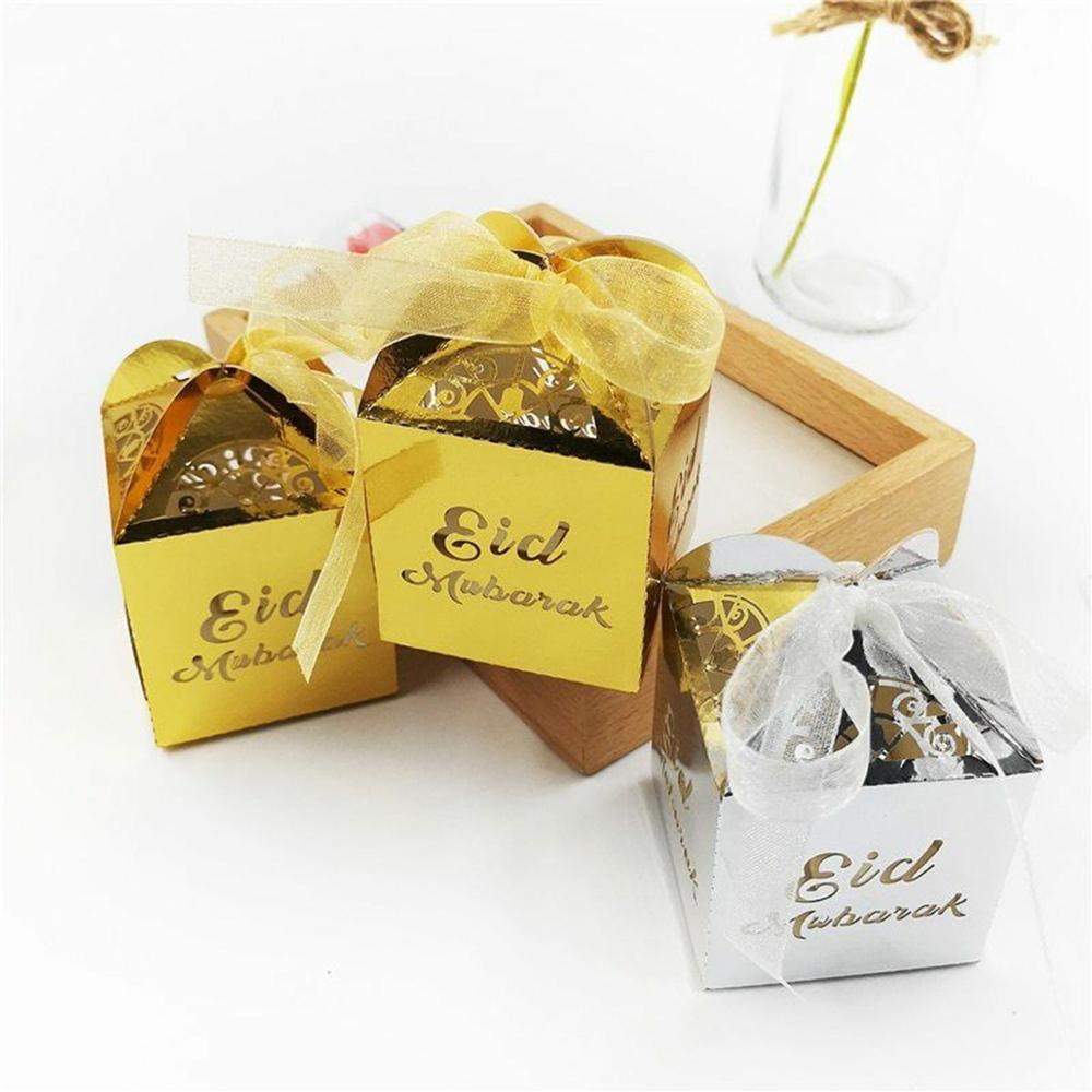 Fengrise 10pcs Eid Mubarak Candy Box Ramadan Decorations Party Supplies Paper Gift Boxes Gift Bag Birthday Party Packaging Bag